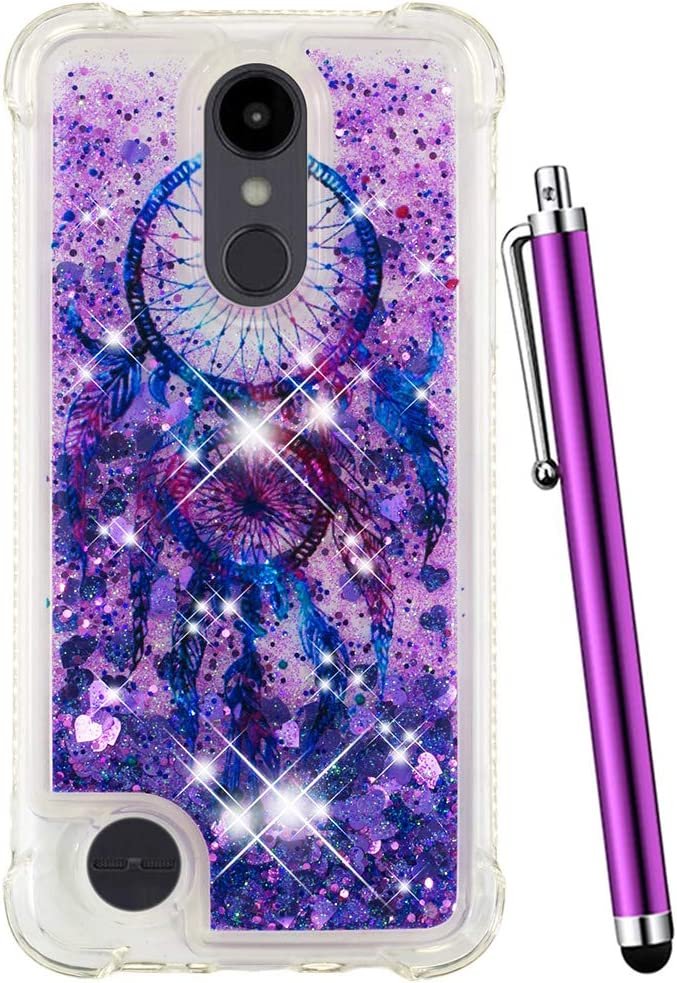 CAIYUNL LG Aristo 2 Plus Case/Aristo 2/Zone 4 /Tribute Dynasty/Fortune 2/Risio 3/Rebel 3 LTE/K8 Plus,Liquid Glitter Bling Sparkle Women Girls Men Shockproof Protective Clear Cover-Purple Aeolian Bells