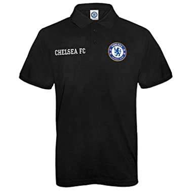 Chelsea FC Official Football Gift Mens Crest Polo Shirt Black Small