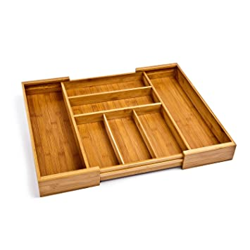 Seville Classics Bamboo Expandable  Adjustable Flatware Utensil Cutlery Drawer Tray Organizer