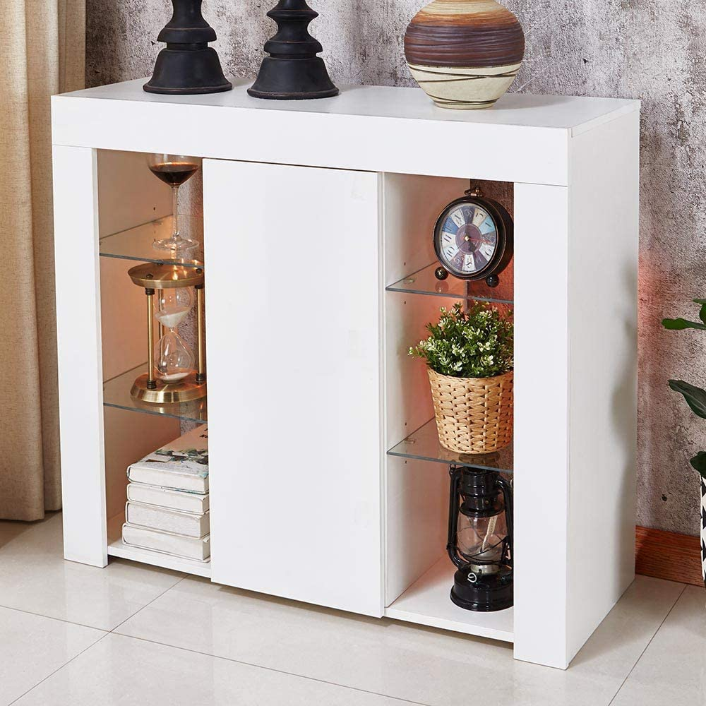store online Apelila LED Sideboard Cabinet White Gloss Storage ...