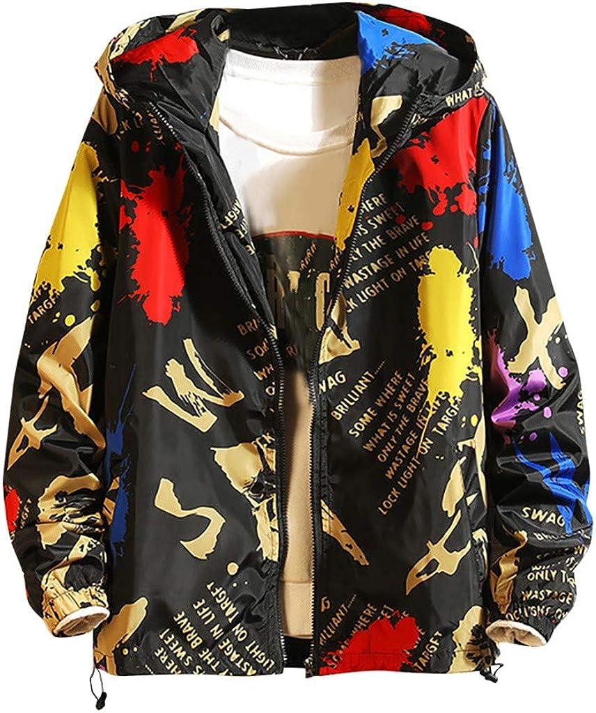 LIUguoo Winter Printed Hooded Coat for Men Casual Zip Up Long Sleeve Hooded Sweatshirt Waterproof Jacket Plus Size