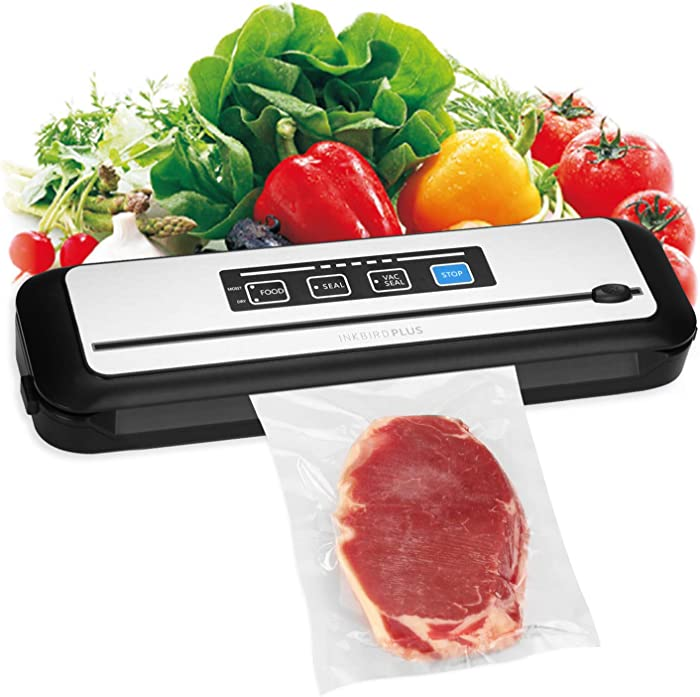 Inkbird Vacuum Sealer, Automatic Sealing Machine for Food Preservation, Dry&Moist Sealing Modes|Built-in Cutter|Starter Kit|Easy Cleaning Stainless Steel Panel|Compact Design|Led Indicator Lights