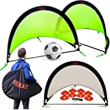 Pop Up Soccer Goals Set - 2 Portable Soccer Nets for Backyard, Park or Training with Carry Bag - 8 Disc Soccer Cones Extra Metal Pegs - Lightweight Strong Soccer Net for Kids