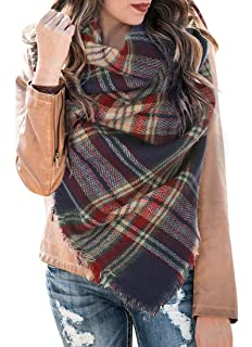 23e3f99be5 Womens Plaid Blanket Scarf Winter Soft Tassel Scarfs Gorgeous Wrap Shawl By  Chuanqi
