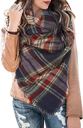 Womens Plaid Blanket Winter Scarf Cashmere Grid Warm Tartan Wrap Classic Shawl Scarves Thick Scarfs cute scarfs