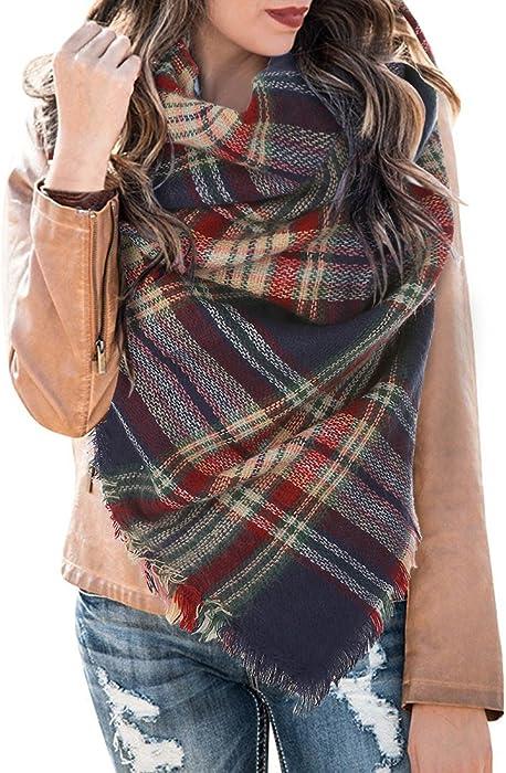 Umeko Womens Fall Plaid Blanket Scarfs Fashion Tassel Warm Christmas Gift  Wraps at Amazon Women s Clothing store  279c059cc