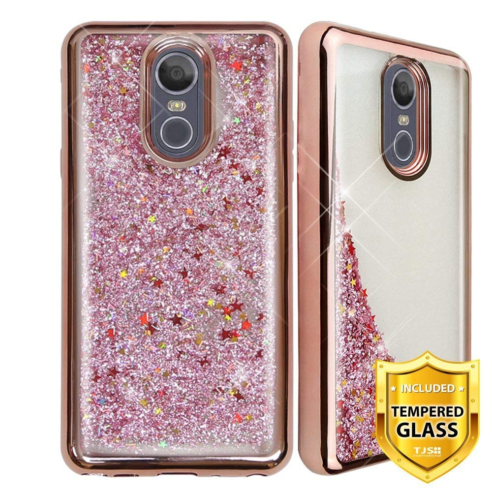 TJS Phone Case for LG Stylo 5/LG Stylo 5 Plus, with [Full Coverage Tempered Glass Screen Protector] Glitter Liquid Chrome Bump Hybrid Shockproof Drop Protector Motion Armor Case Cover (Rose Gold)