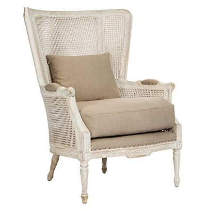 Kathy Kuo Home Archdale French Style Caned Back Antique White Wing Salon  Chair - Amazon.com: Kathy Kuo Home Archdale French Style Caned Back Antique
