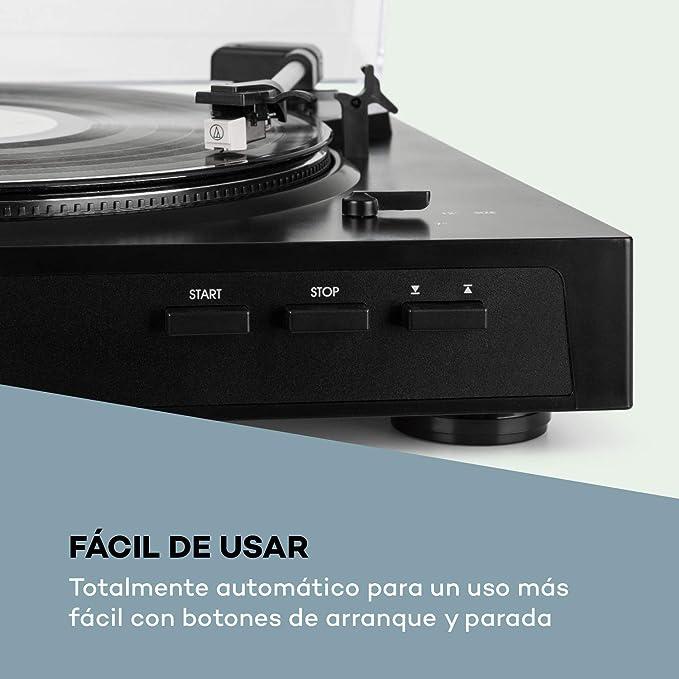 auna Fullmatic Black Edition - Tocadiscos automático, Velocidad 33 1/3 + 45 rpm, Vinilos 30/ 17 cm de diámetro, Puerto USB, AUX, Preamplificador, ...
