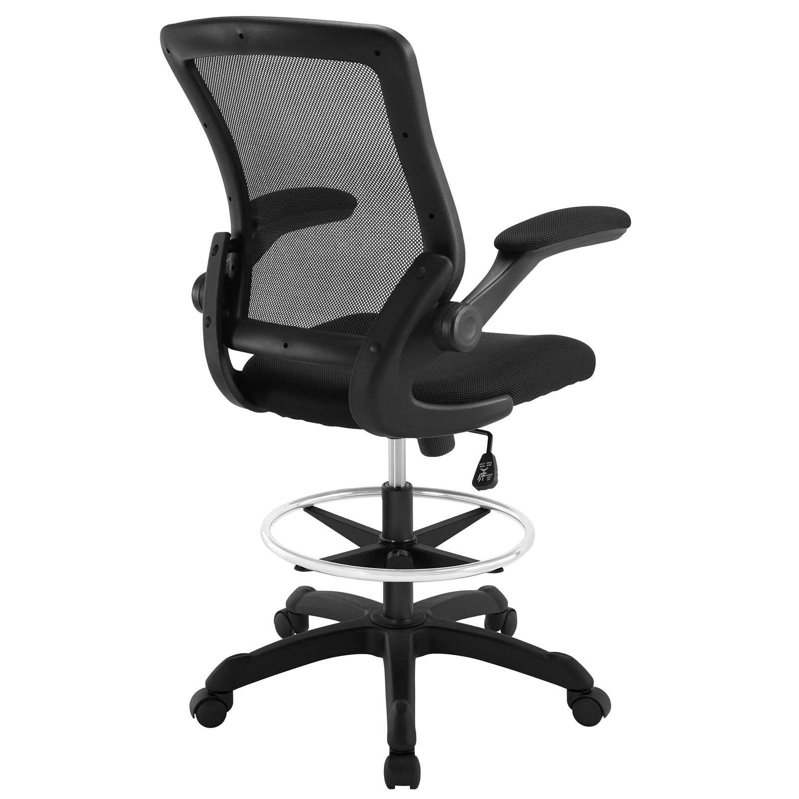 Modway Veer Drafting Stool In Black Reception Desk Chair Tall