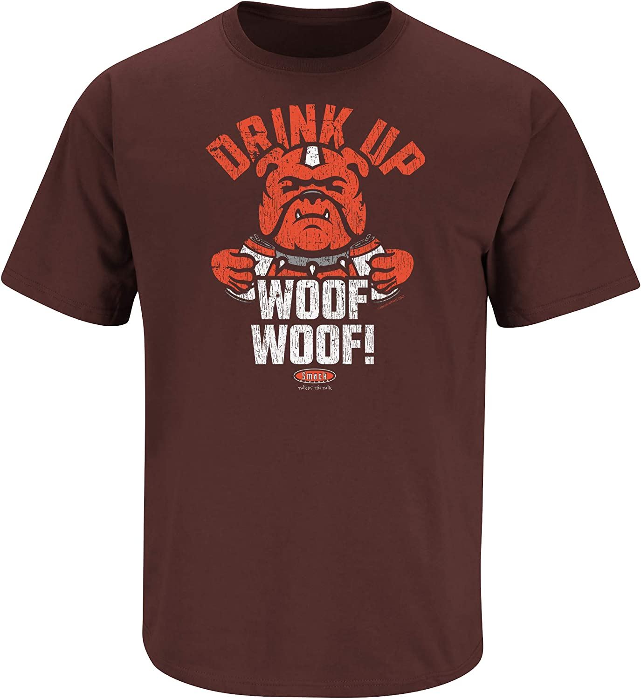 Smack Apparel クリーブランドフットボールファン。 ウーフを飲みましょう。 ブラウンTシャツ(S~5X)  Medium
