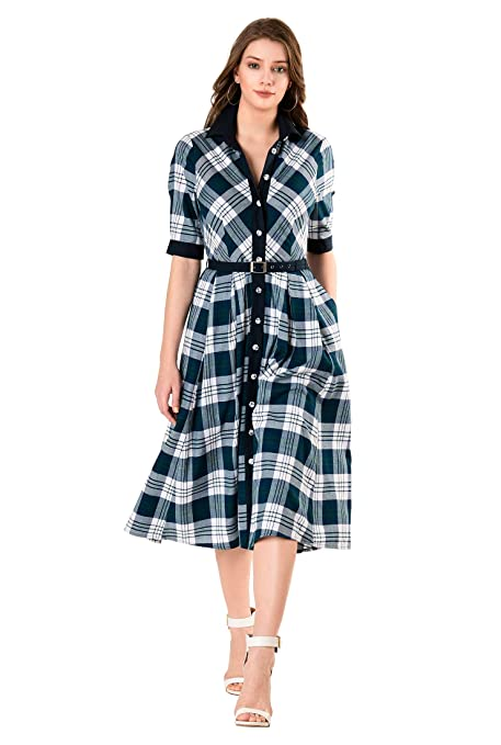 1940s Tea Dresses, Mature, Mrs. Long Sleeve Dresses eShakti FX Contrast Trim Cotton Plaid Belted Shirtdress - Customizable Neckline Sleeve $84.95 AT vintagedancer.com