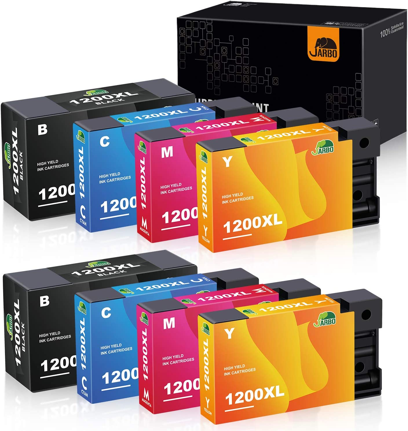 JARBO Compatible Ink Cartridge Replacement for Canon PGI-1200XL 1200 XL, for Canon Maxify MB2720 MB2320 MB2020 MB2120 MB2350 MB2050 Printer (2BK, 2C, 2M, 2Y) 8 Pack
