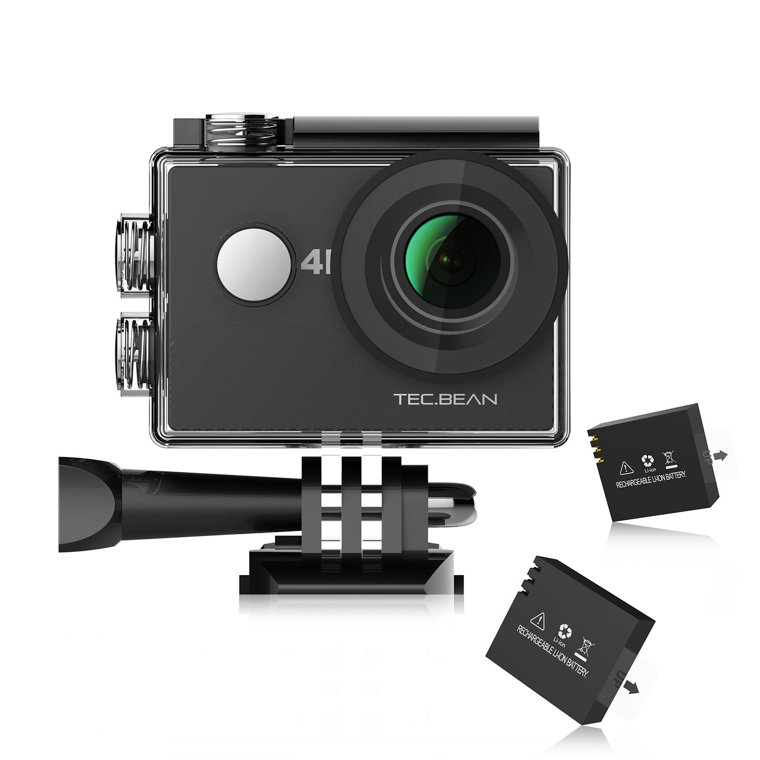 TEC.BEAN 4K Action Camera, 16MP WIFI Waterproof Camera  2inch LCD Sports Camera 170° Wide-Angle Lens Action Cam, 2pcs Rechargeable battery and Accessories Kits (Black)