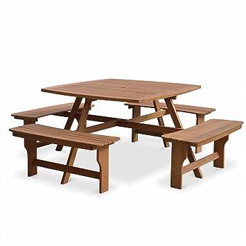 Alice\'s Garden - Table de Pique Nique en Bois 120cm - LLANCA - Table de  Jardin carré avec 4 bancs