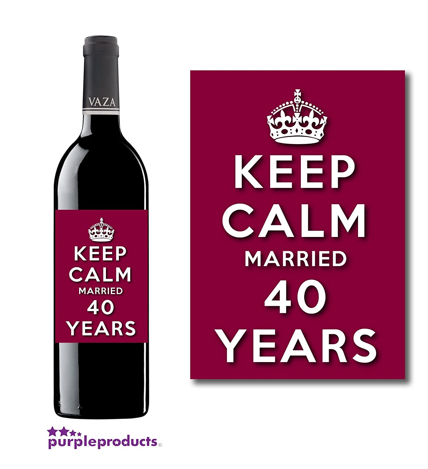 B 40th wedding anniversary gift Keep Calm 40th Ruby Wedding Anniversary Wine bottle label Celebration Gift for Women and Men