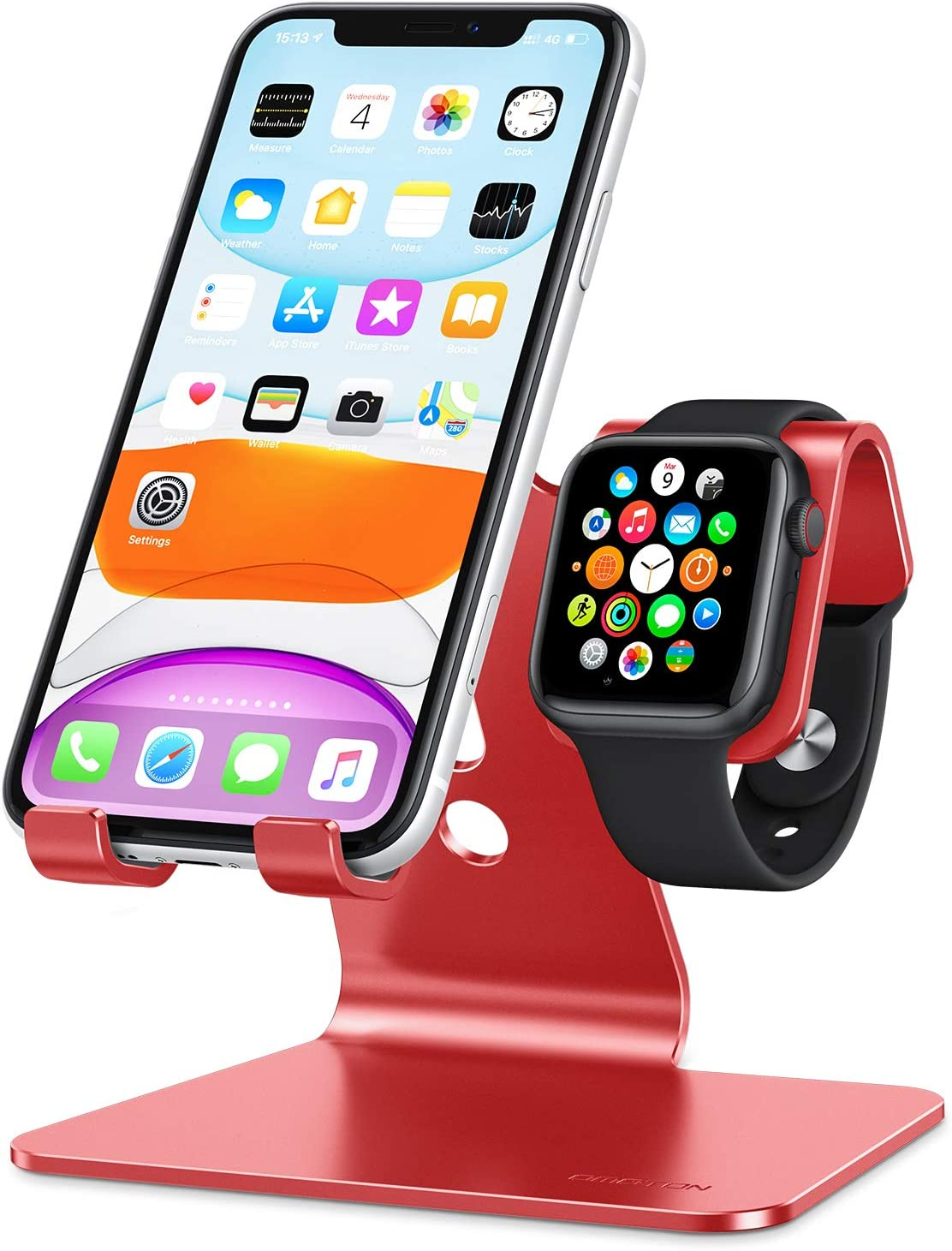 Apple Watch Stand, OMOTON 2 in 1 Universal Desktop Stand Holder for iPhone and Apple Watch Series 5/4/3/2/1 (Both 38mm/40mm/42mm/44mm) (Red)