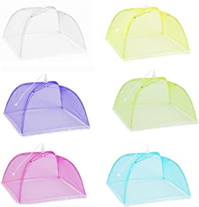 6 Pack Colored Mesh Food Cover Tents by Winknowl, Reusable and Collapsible Large 17