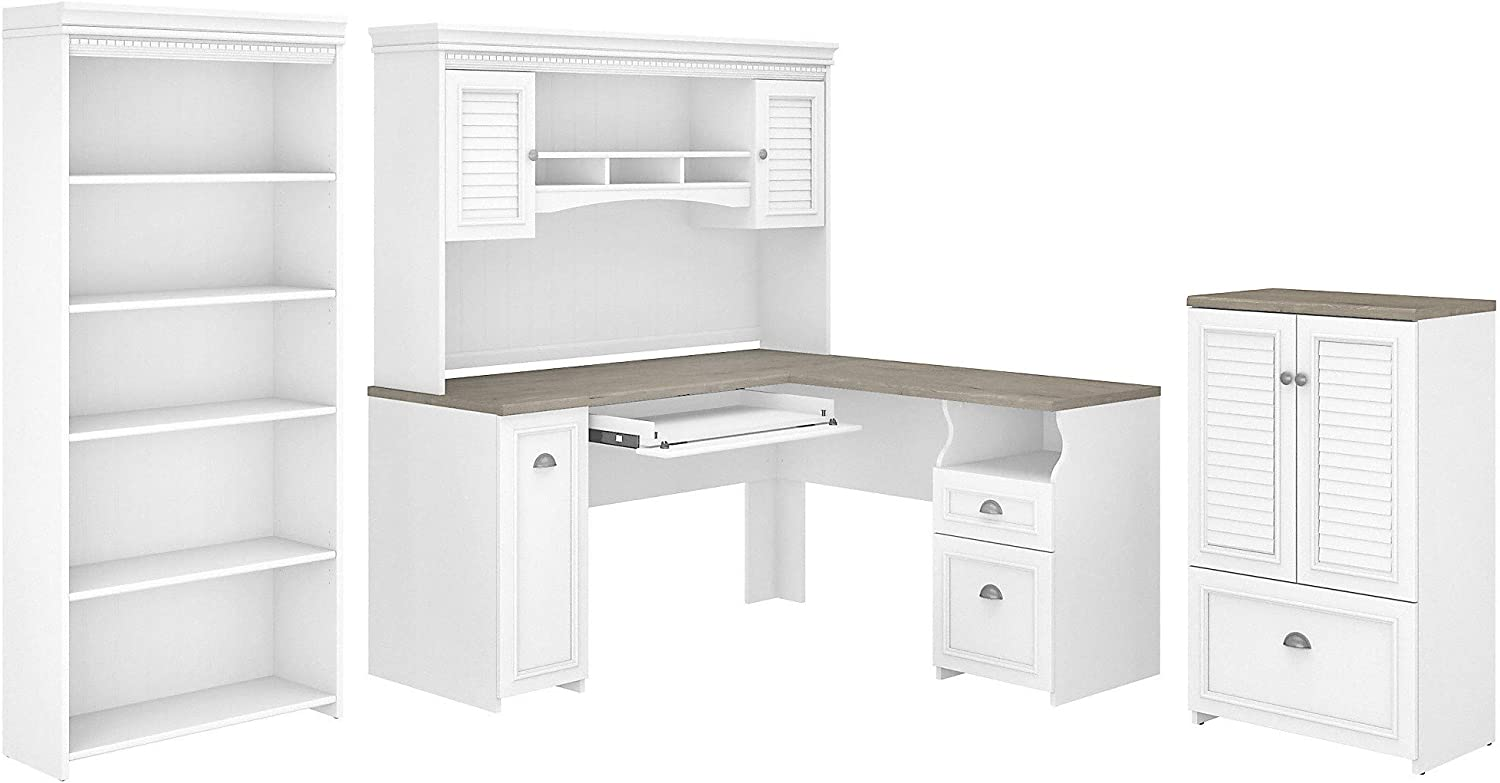 Bush Furniture Fairview 60W L Desk, Hutch, Lateral File Storage Cabinet and Bookcase, Shiplap Gray/Pure White