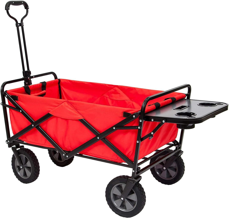 Mac Sports Folding Garden Utility Wagon w Table, Red
