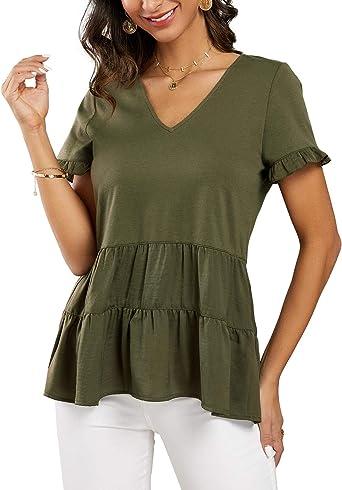 Woman Top Size 8 10 12 14 16 Ladies Peplum Long Sleeve Blouse Causal Office Top