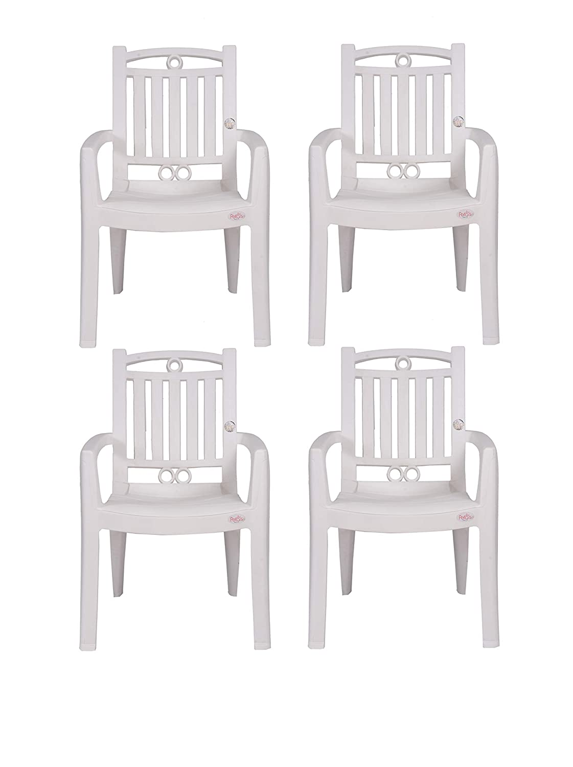 Petals Swiss Arm Chair (White, Set Of 4)