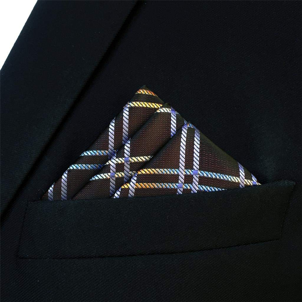 S/&W SHLAX/&WING Mens Pocket Square Checkered Brown Multicolored New Design