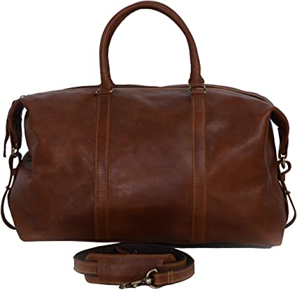 KomalC Leather Duffel Bag Brown Soft Full Grain Buffalo Leather 21 inch Holdall Travel Sports Overnight Weekend Gym Cabin Bag