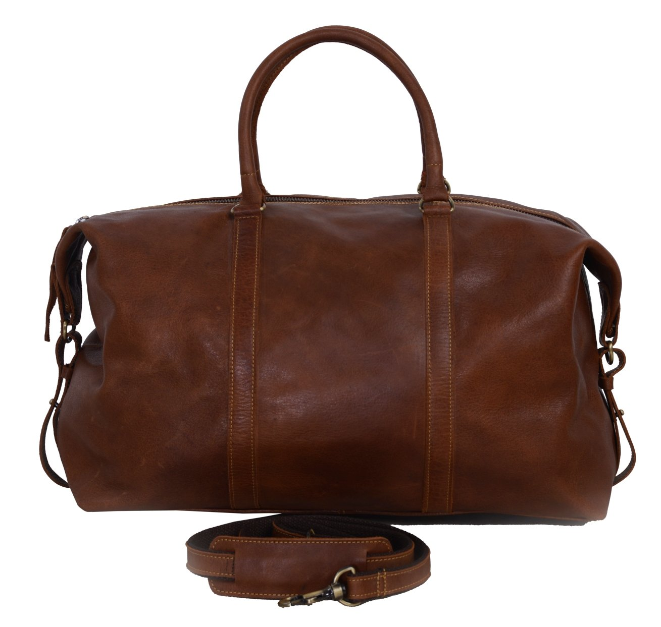 KomalC Soft Buffalo Leather 21 Inch Duffel Holdall Travel Sports Overnight Weekend Tote Leather Bag for Gym Sports Cabin Tan Brown