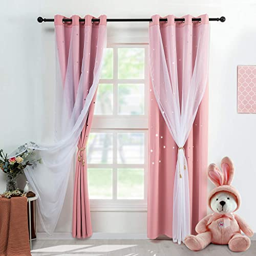 REEPOW Girls Bedroom Stars Blackout Curtains 2 Panels - the best window curtain panel for the money