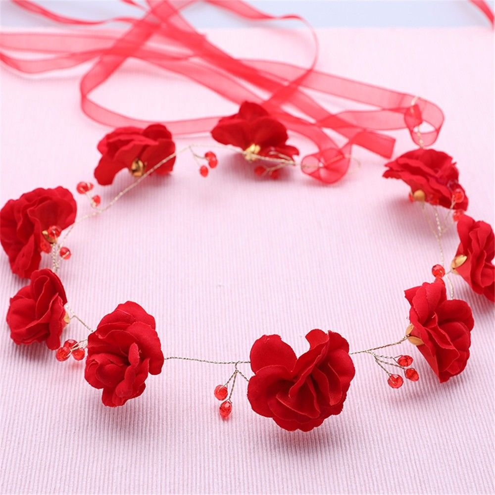 Bride headwear necklace earrings red threepiece wedding toast dress accessories bride hair accessories suits