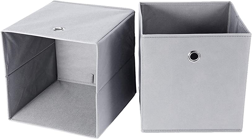 4X Cajas de Almacenaje Caja de Tela Organizador para Armario de Habitación Hogar con Agujero (Gris): Amazon.es: Hogar