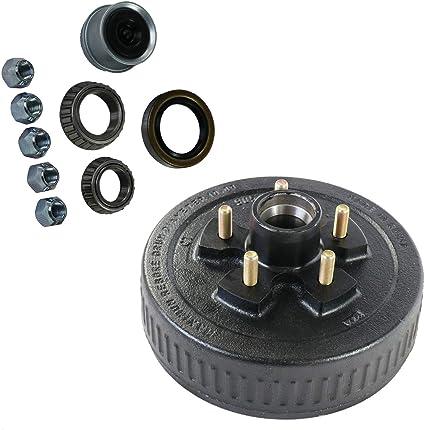 "10/"" X 2-1//4/"" Trailer Brake Hub Drum Kit 5 on 4.5/"" 3500 lbs Axle 22001K 4"