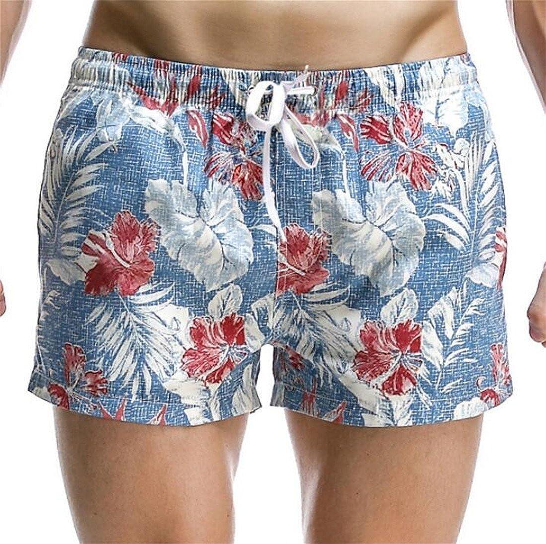 UUYUK Men Quick Dry Printed Short Swim Trunks Swimwear Bathing Suits