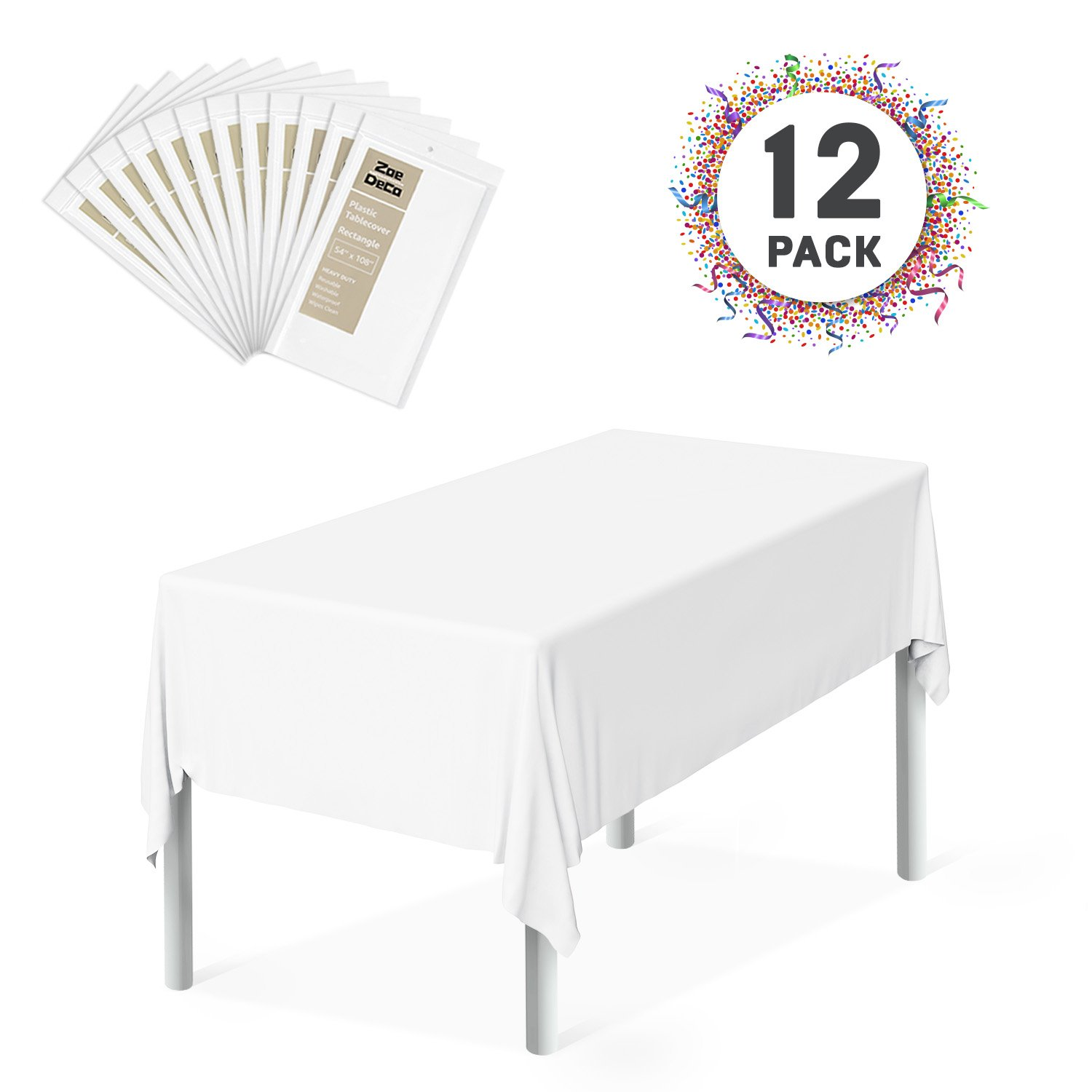 Zoe Deco Plastic Tablecloth, 54'' x 108'' White Tablecloth - 12 Pack - Rectangle Tablecloth for Parties, Graduations, and Picnics