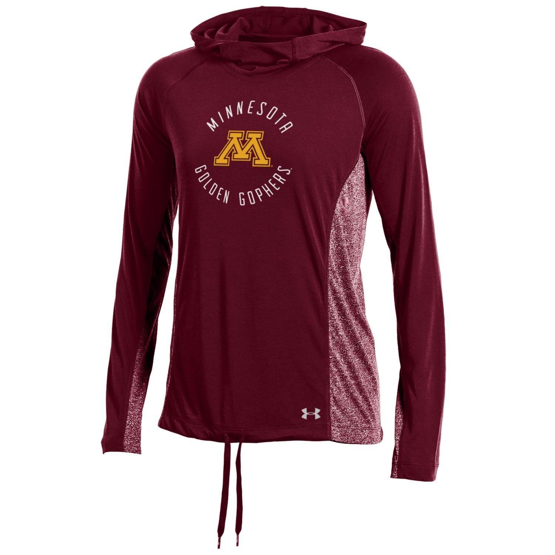 NCAAレディースunder armour threadborne軽量フード付きTシャツ B0758QJ8HF Large|マルーン|Minnesota Golden Gophers マルーン Large