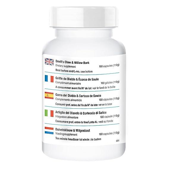 Vitamintrend - Harpagofito - 900mg - ¡¡Bote para 3 MESES!! - 180 cápsulas -garra del diablo y corteza de sauce: Amazon.es: Salud y cuidado personal