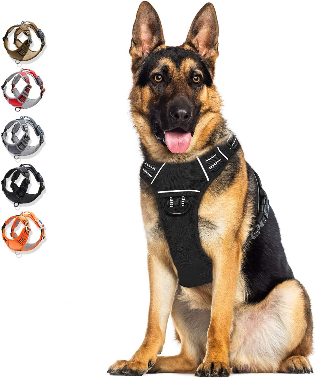 WALKTOFINE Dog Harness No Pull Reflective, Comfortable Harness with Handle,Fully Adjustable Pet Leash Vest for Small Medium Large Dog Breed