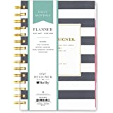 "Day Designer for Blue Sky 2017-2018 Academic Year Daily & Monthly Planner, Twin-Wire Bound, 5"" x 8"", Navy Stripe"