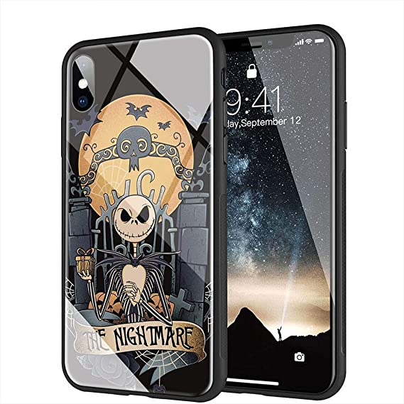 Iphone Xs Max Case Tempered Glass Back Cover Soft Silicone Bumper Compatible With Iphone Xs Max Am 24 The Nightmare Before Christmas Jack Skellington
