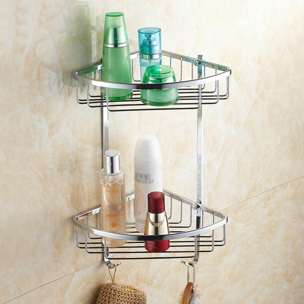 B LUHEN Bathroom Double Tripod Full Copper Storage Rack Wall Hanging Basket Shelf (Size   B)