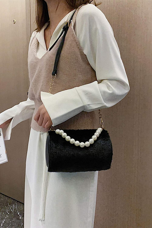 Nyusdar Handbags Women Bags Faux Fur Pearl Shoulder Bags Party Barrel-Shaped Tote Crossbody Bags for Women