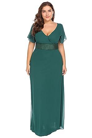 6c99d4af4792 Zeagoo Womens Plus Size Chiffon Short Sleeve Maxi Formal Dresses Party Dress  (14W, Green