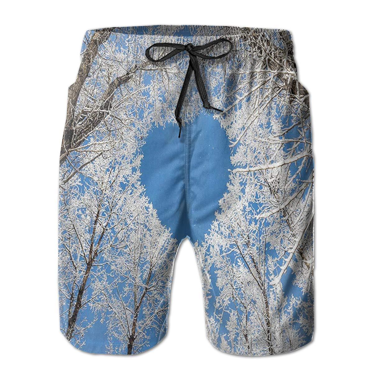 Bilybily Heart Shaped Branches Mens Swim Trunks Quick Dry Board Shorts with Pockets Summer Beach Shorts