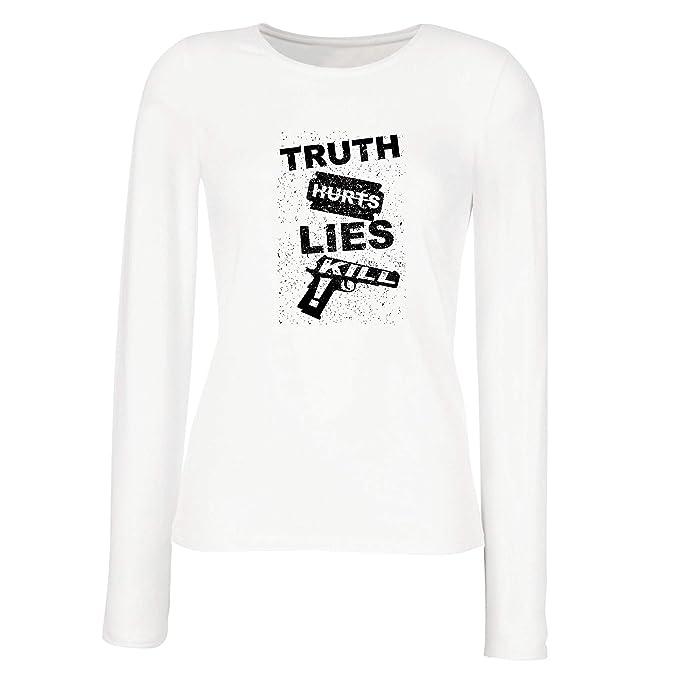 lepni.me Camisetas de Manga Larga para Mujer La Verdad Duele la Mentira Mata!: Amazon.es: Ropa y accesorios