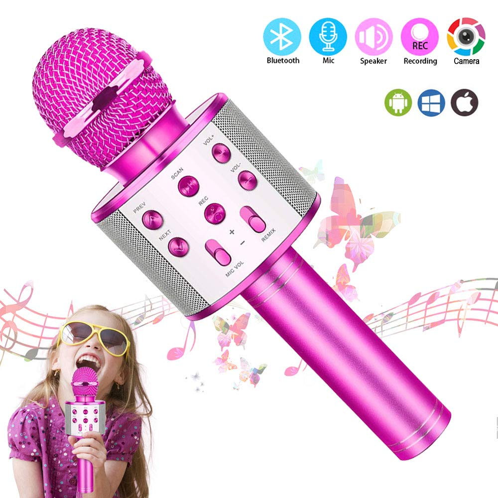 pink Kid Girl Top Birthday Gift Toy,Wireless Bluetooth Karaoke Microphone Cool Funny Gift for 5-12 Years Old Girl Boy Best Gift Presents for Girl Kid Boy Children Age 5 6 7 8 9 10 11 12 Years Old
