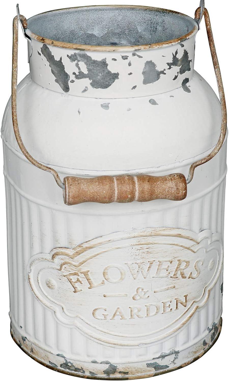VANCORE Shabby Chic Metal Milk Jug Planter Metal Vases for Decor Rustic Flower Bucket Farmhouse Decorative Vases