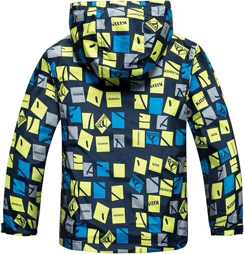 Fullyday Winter Outdoor Boys Waterproof Hooded Jacket Ideal Warm Keeping Windproof Rain Coat