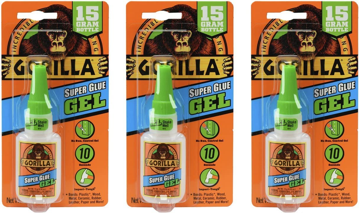 Gorilla Super Glue Gel, 15 Gram, Clear, (Pack of 3)