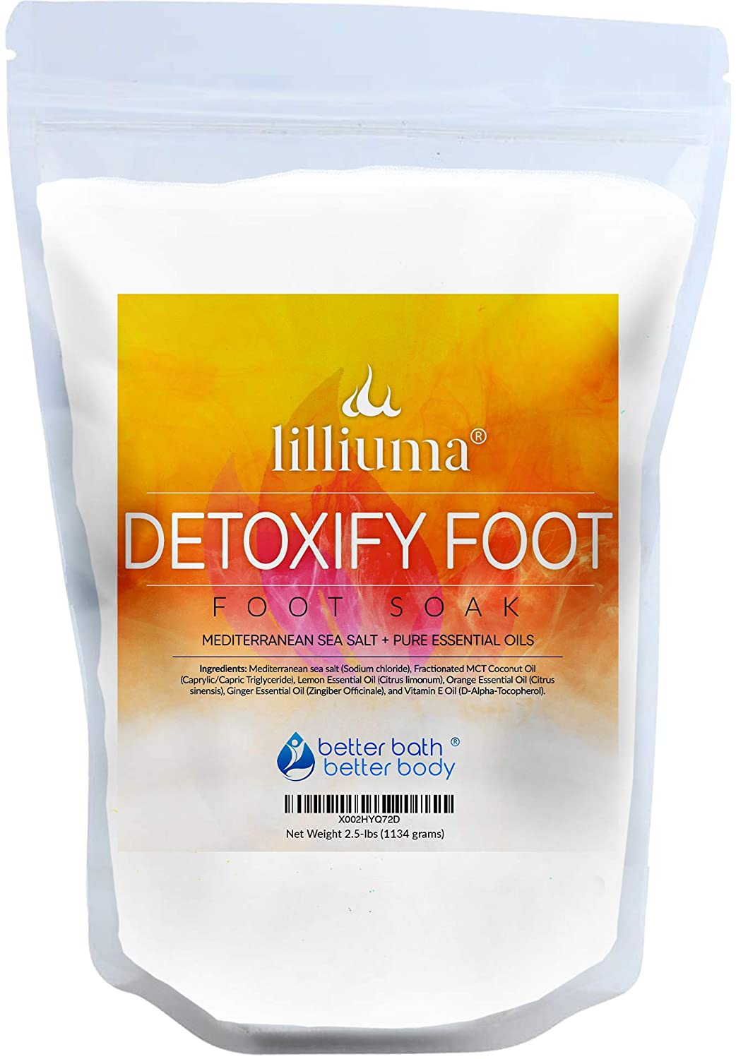 New Detoxify Foot Soak 40 Ounces Mediterranean Sea Salt with Lemon, Orange, and Ginger Essential Oils, Natural Detox Foot Soak